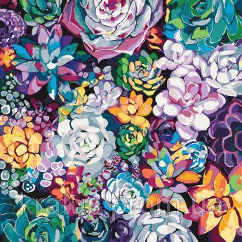 """KHO 3017 """"Волшебные цветы"""" Роспись по номерам на холсте (без коробки) 40х40см"""