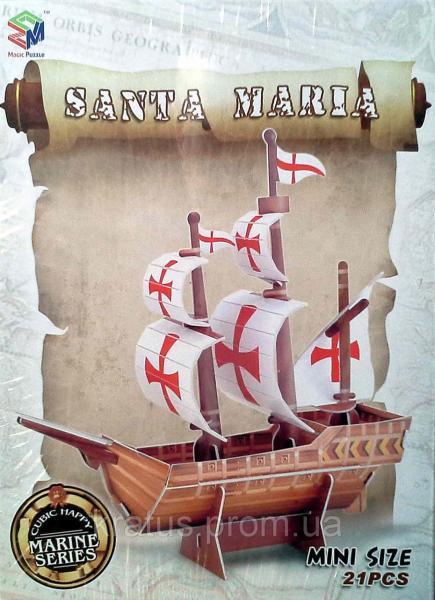 B 668-23 3D пазл  мини «Санта Мария», 21 дет.