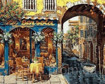 "VP 643 ""Кафе Венеции"" Роспись по номерам на холсте 40х50см"