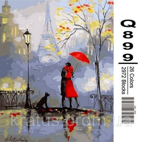 """Q899 """"Романтика Парижа"""" Роспись по номерам на холсте 40х50см"""
