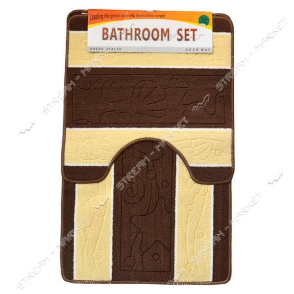 Набор ковриков в ванную под унитаз на тканевой основе полоска 50х80см
