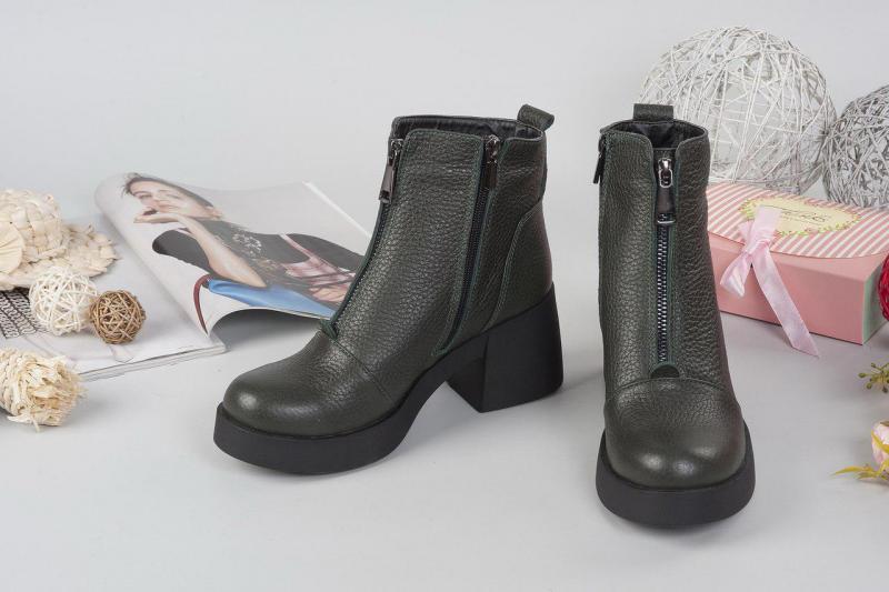 Женские кожаные ботинки с молнией. Украина
