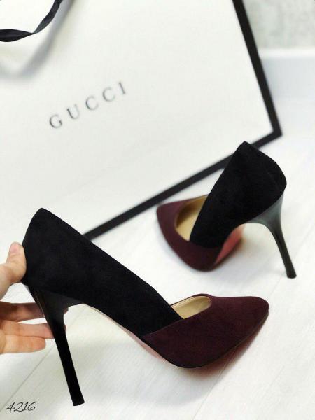 Туфли женские лодочки замшевые