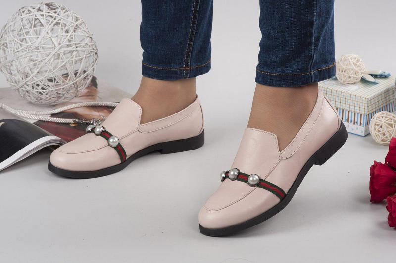 Женские кожаные туфли- лоферы GU4I. Украина