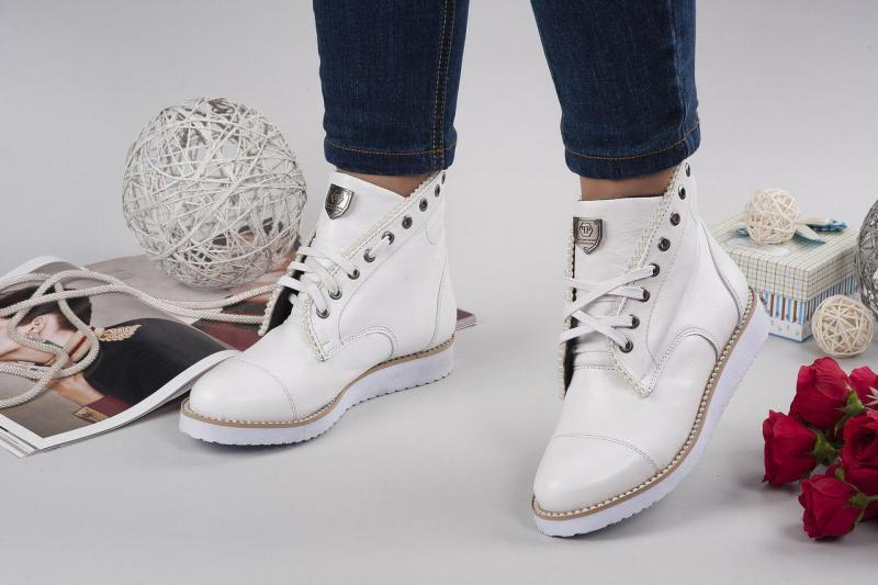 Женские кожаные белые ботинки P/Plein! Украина