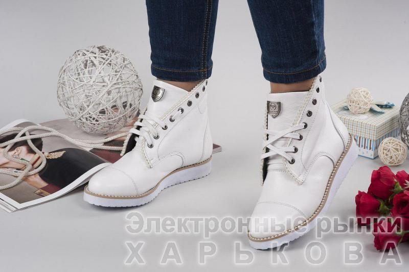 98bf04b7 Женские кожаные белые ботинки P/Plein! Украина - Ботильоны, ботинки женские  на рынке Барабашова