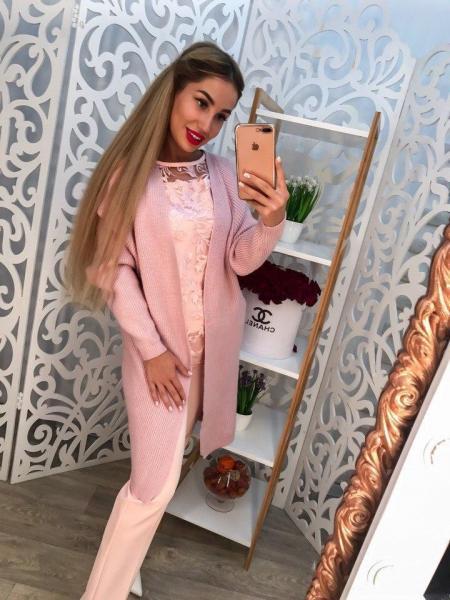 Женский стильный розовый кардиган