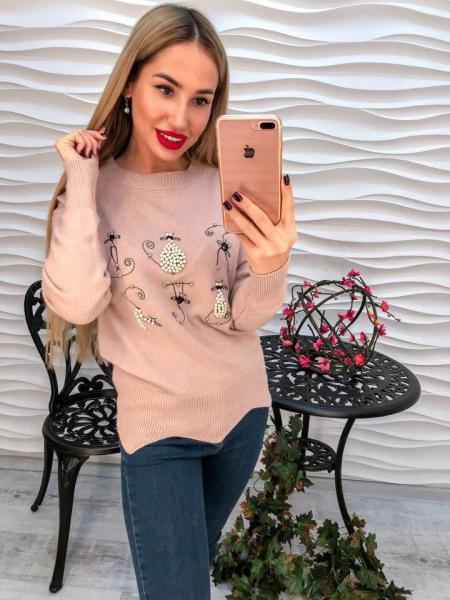 Фото Одежда женская, Кофты,туники,свитера,гольфы Женский  вязаный свитер декорирован жемчугом и накаткой