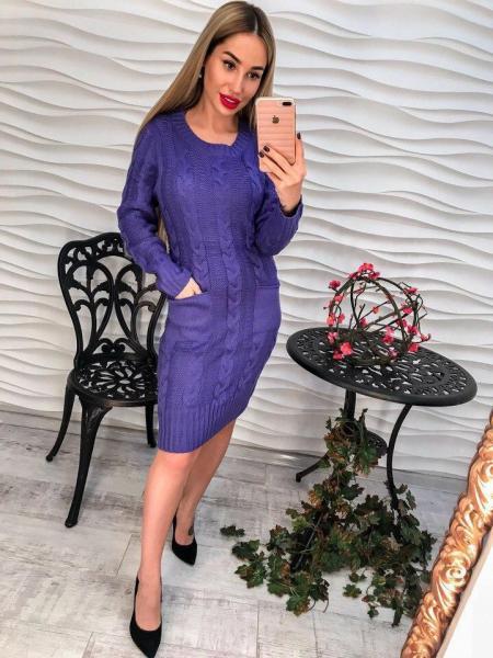 Женское синее серое вязаное платье.