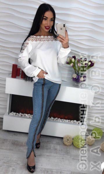345d082b455 Стильная белая блузка с кружевом. - Блузки и туники женские на рынке  Барабашова