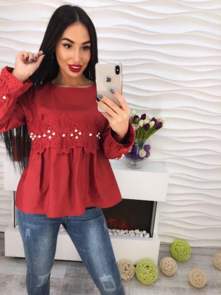 Котоновая бордовая блуза.