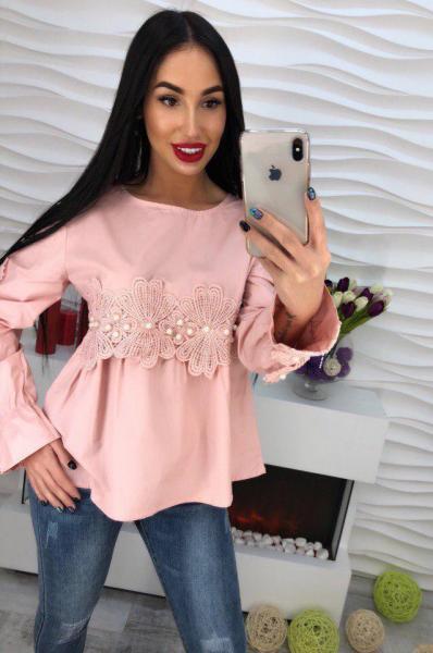 Котоновая розовая блуза.