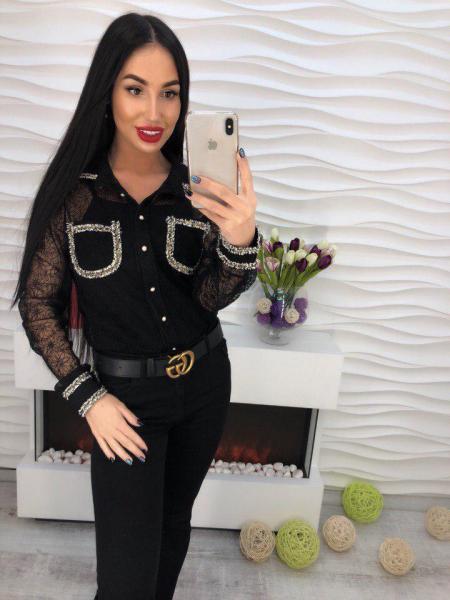 Черная блуза из органзы.