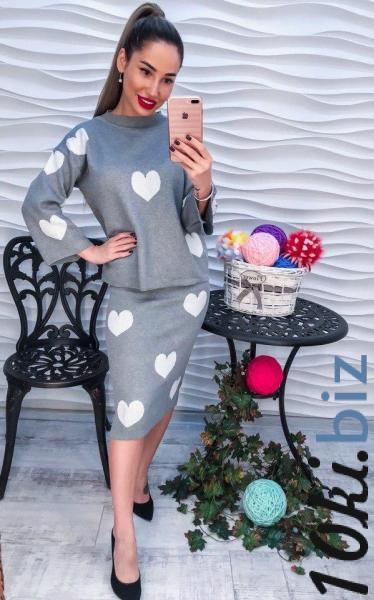 Стильный серый женский костюм с сердечками. Женские костюмы в ТРЦ «Французский бульвар» в Харькове