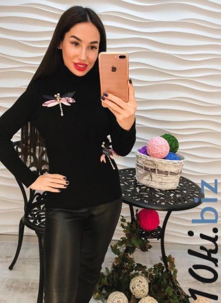 Стильный черный гольф с аппликацией. Женские свитера, водолазки, гольфы, кофты на Центральном рынке Харькова