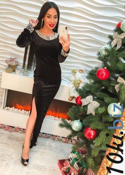 Красивое длинное черное бархатное платье с жемчугом. купить в Харькове - Платья, сарафаны женские