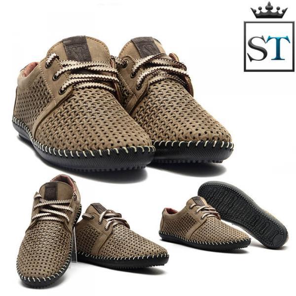 Мужские мокасины из натуральной кожи на шнурках. Украина