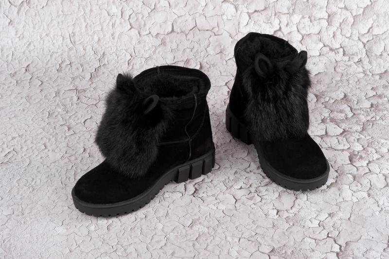 Женские зимние замшевые ботинки с ушками! Украина