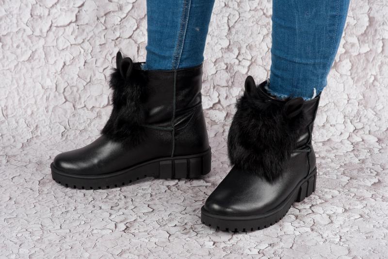 Женские зимние кожаные ботинки с ушками! Украина
