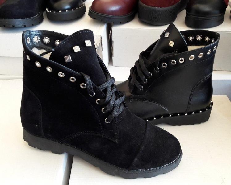 Женские зимние замшевые ботинки с заклемками. Украина
