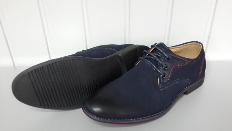 Мужские туфли синего цвета код 6565. Украина