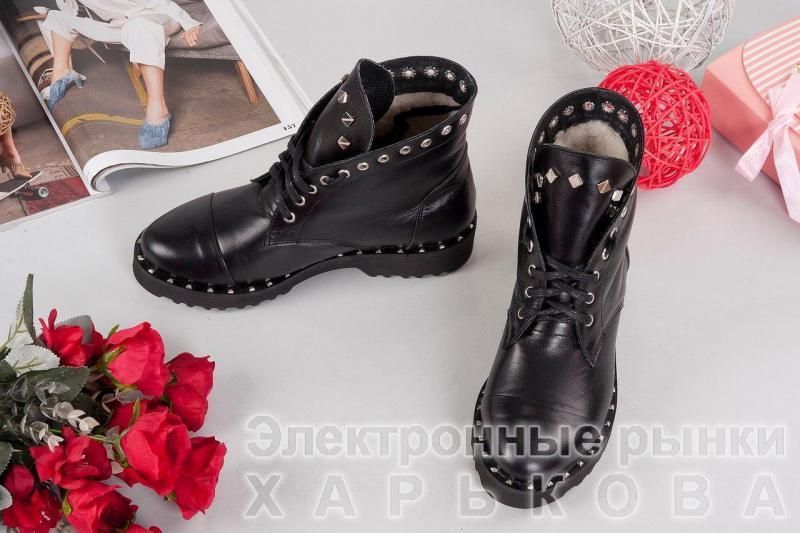 Женские зимние кожаные ботинки с заклемками. Украина - Ботильоны, ботинки женские на рынке Барабашова