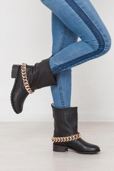 Стильный кожаные зимние женские ботинки цепочка! Украина