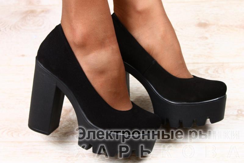 041d8ed6f Женские замшевые черные туфли та устойчивом каблуке - Туфли женские на  рынке Барабашова