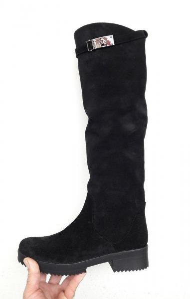 Зимние женские замшевые сапоги Hermès. Украина
