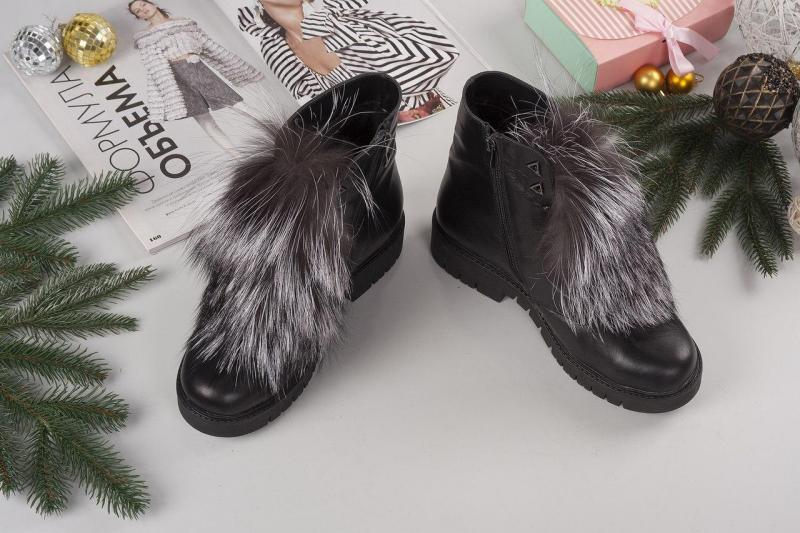 Женские кожаные ботинки мех чернобурка Lux. Украина.
