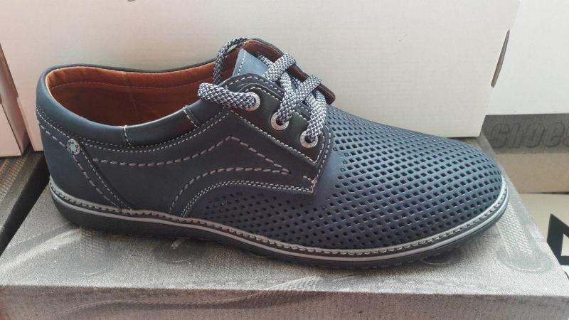 Мужские кожаные летние туфли на шнурках Style. Харьков