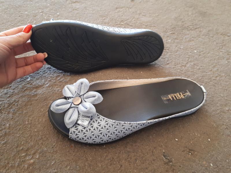 Женские кожаные шлепки Flower. Украина