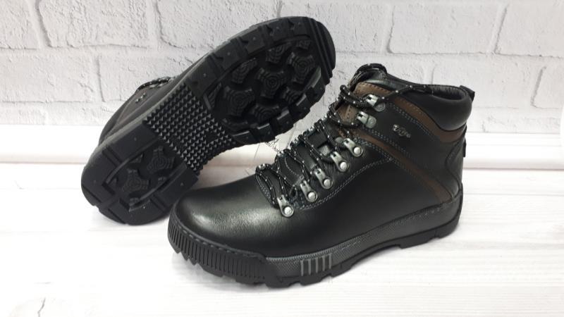 Зимние мужские кожаные ботинки на шерсти. Украина