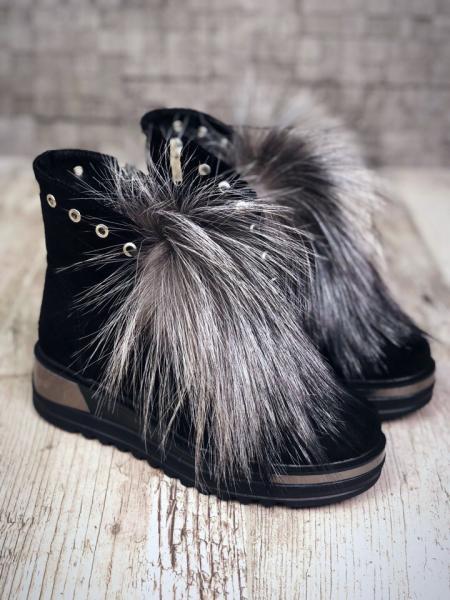 Женские ботинки мех чернобурка Lux. Украина