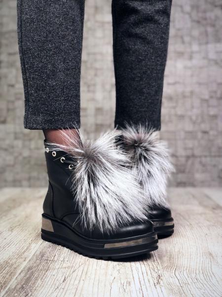 Женские кожаные ботинки мех чернобурка Lux. Украина