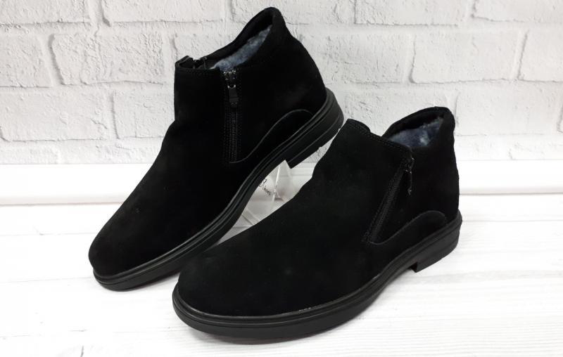 Зимние замшевые ботинки на натуральном меху. Турция