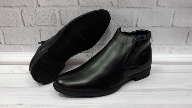 Мужские зимние классические кожаные ботинки на цигейке. Турция