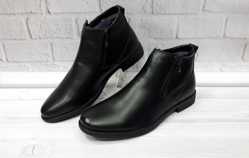 Мужские зимние кожаные ботинки на цигейке. Турция