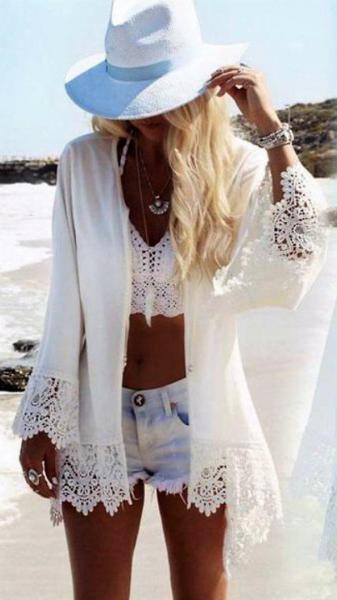 Пляжная туника белая с орлом.