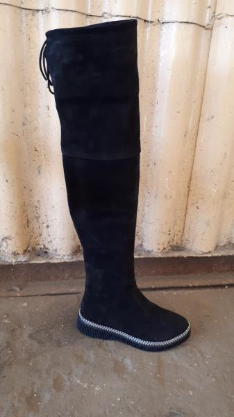 Демисезонные замшевые женские ботфорты. Украина