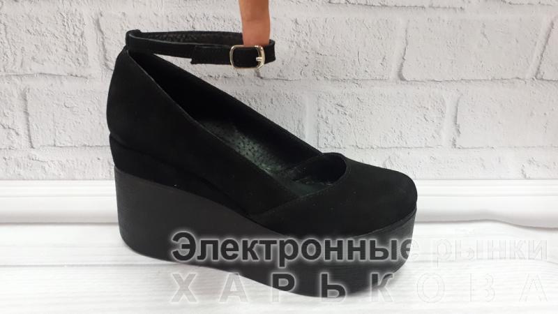 d4c0e57f0 Туфли замшевые на танкетке Glam с ремешком. Украина - Туфли женские на  рынке Барабашова