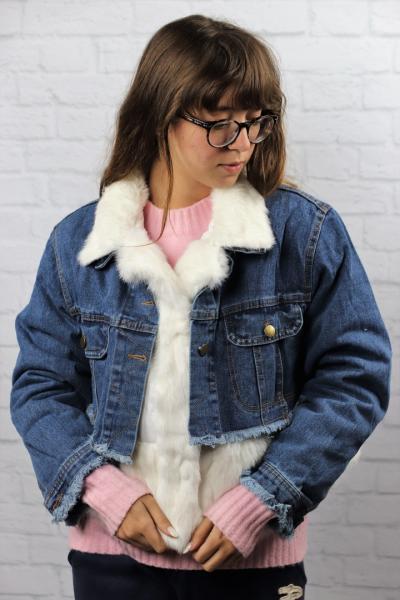 Джинсовка с мехом кролика.