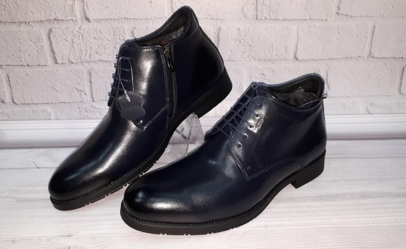 Мужские зимние кожаные ботинки внутри цигейка. Турция