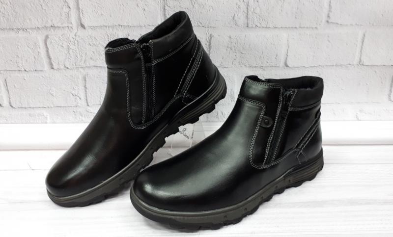 Мужские кожаные зимние ботинки на молниях. Турция