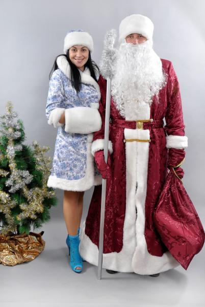 Комплект костюм Дед Мороз  и Снегурочка