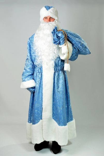 Костюм карнавальный Дед Мороз голубой