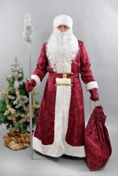 Костюм карнавальный Дед Мороз бордовый