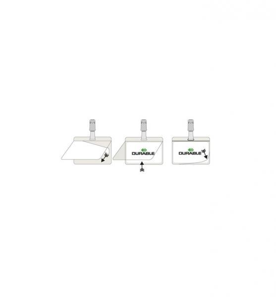Бейдж самоламинирующийся Durable из ПВХ, с поворотным клипом.