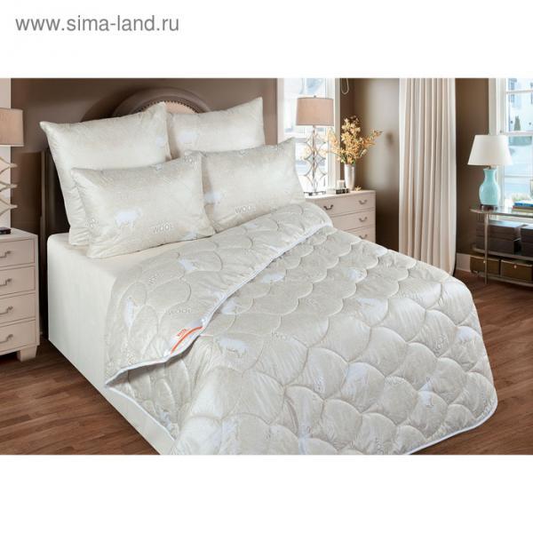 Одеяло обл. 140*205, ОМШ/015эк, шерсть мериноса, ткань глосс-сатин,п/э