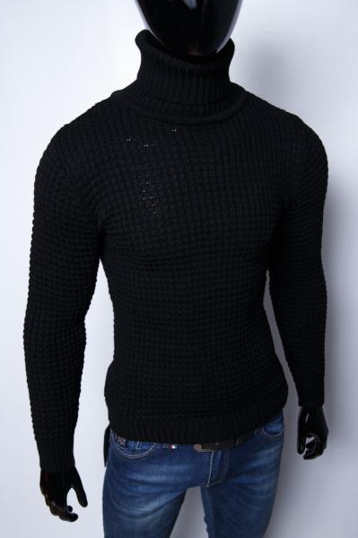 Свитер мужской теплый с высоким горлом Figo 9309 черный
